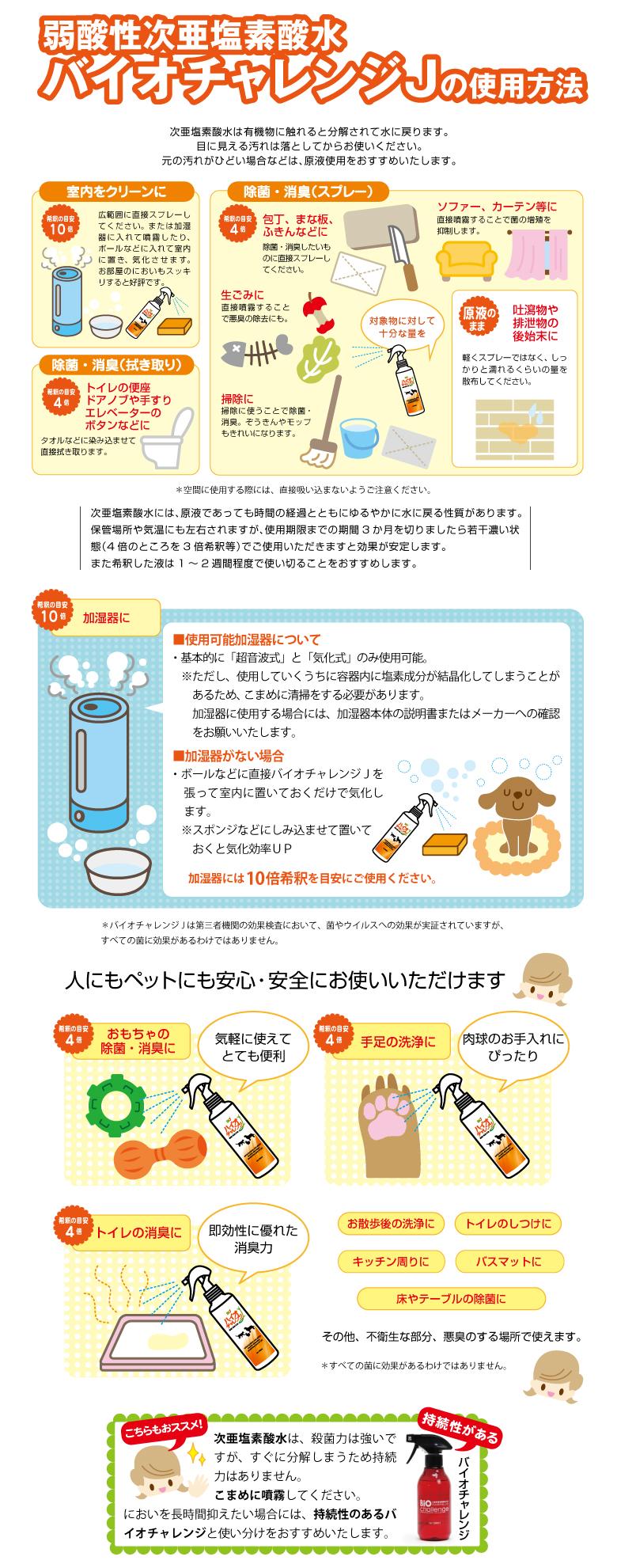 すばやく強力に除菌・消臭。ペット・人に安心・安全‐バイオチャレンジJの使用方法について