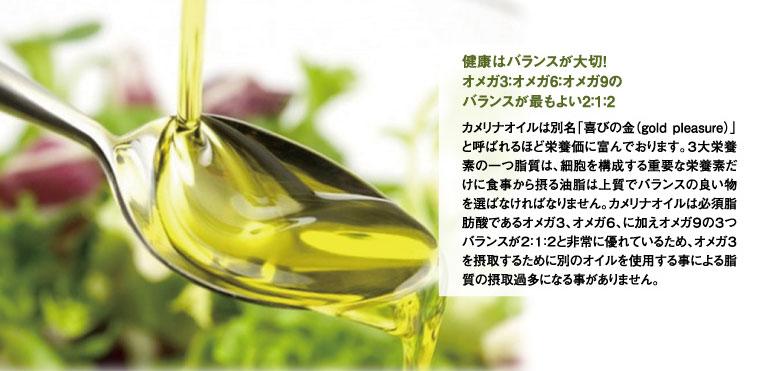 Camelina Oil カメリナオイル−健康はバランスが大切!オメガ3:オメガ6:オメガ9のバランスが最もよい2:1:2